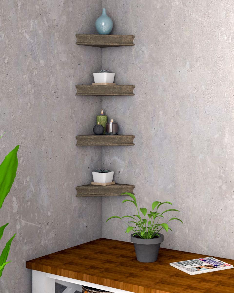 Rustic style floating corner shelf