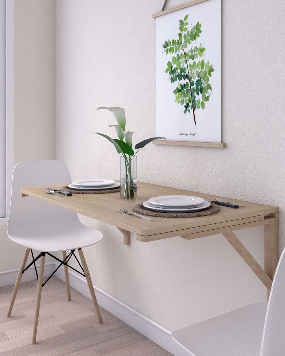 Wooden multi function wall mounted folding table