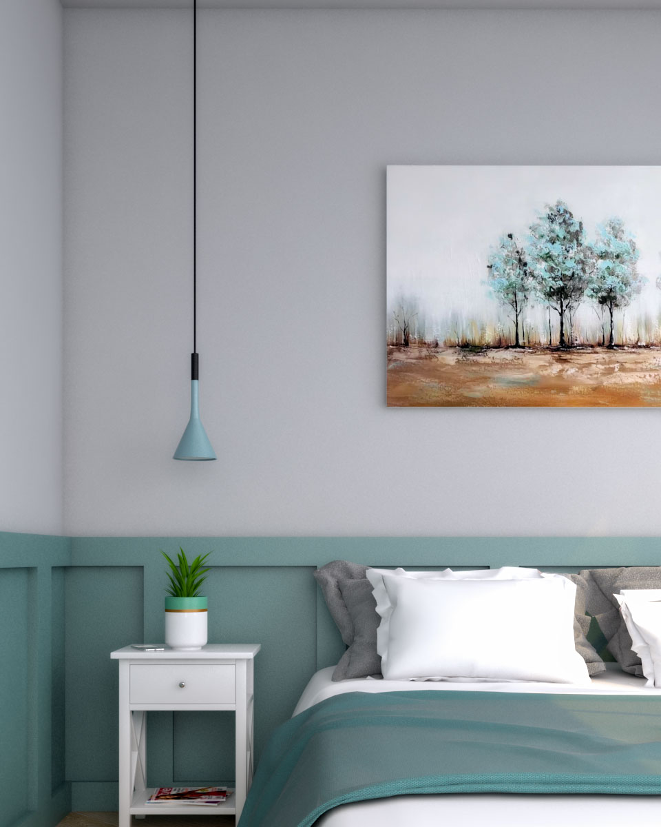 Vintage style teal and gray wall decor