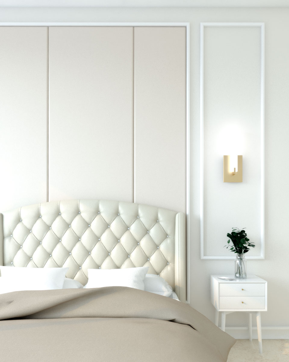 Classic art deco beige bedroom wall with molding trim
