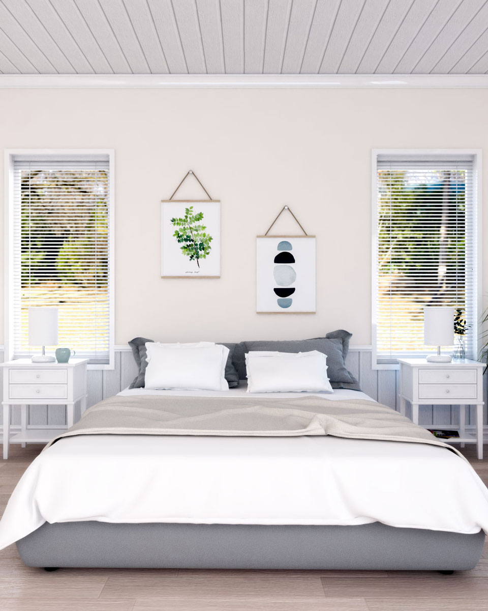 Beige and white wood trim bedroom wall paint ideas