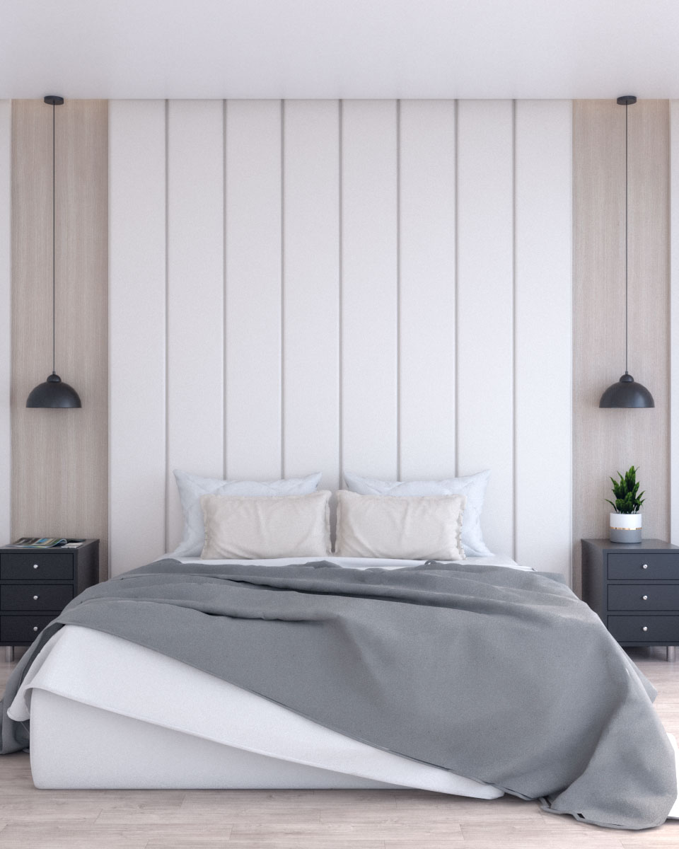 Beige and wood bedroom accent wall ideas