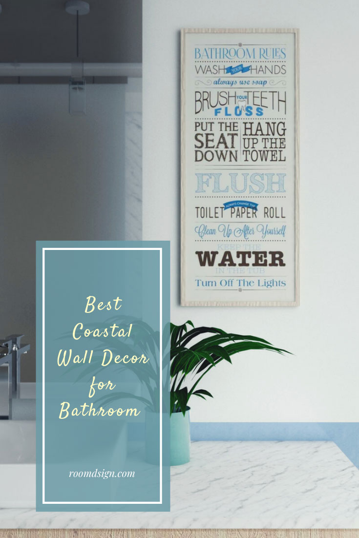 Bathroom rules wall decor in coastal style