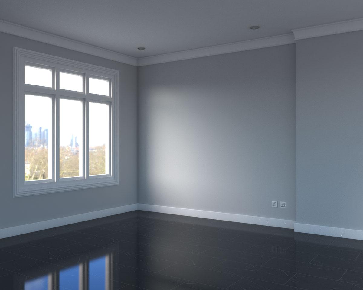black marble flooring with grey walls