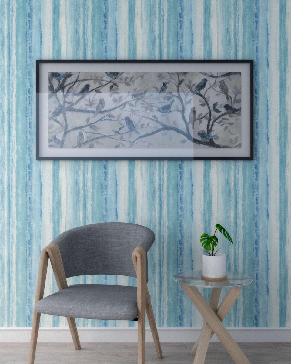 Pastel blue watercolor stripe wallpaper