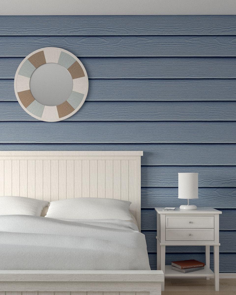 blue coastal wooden board wall
