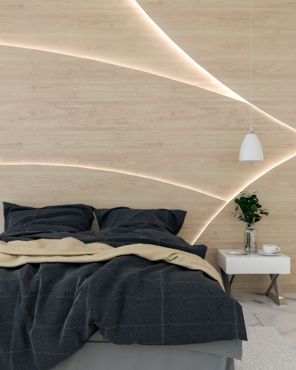 curved wood accent wall