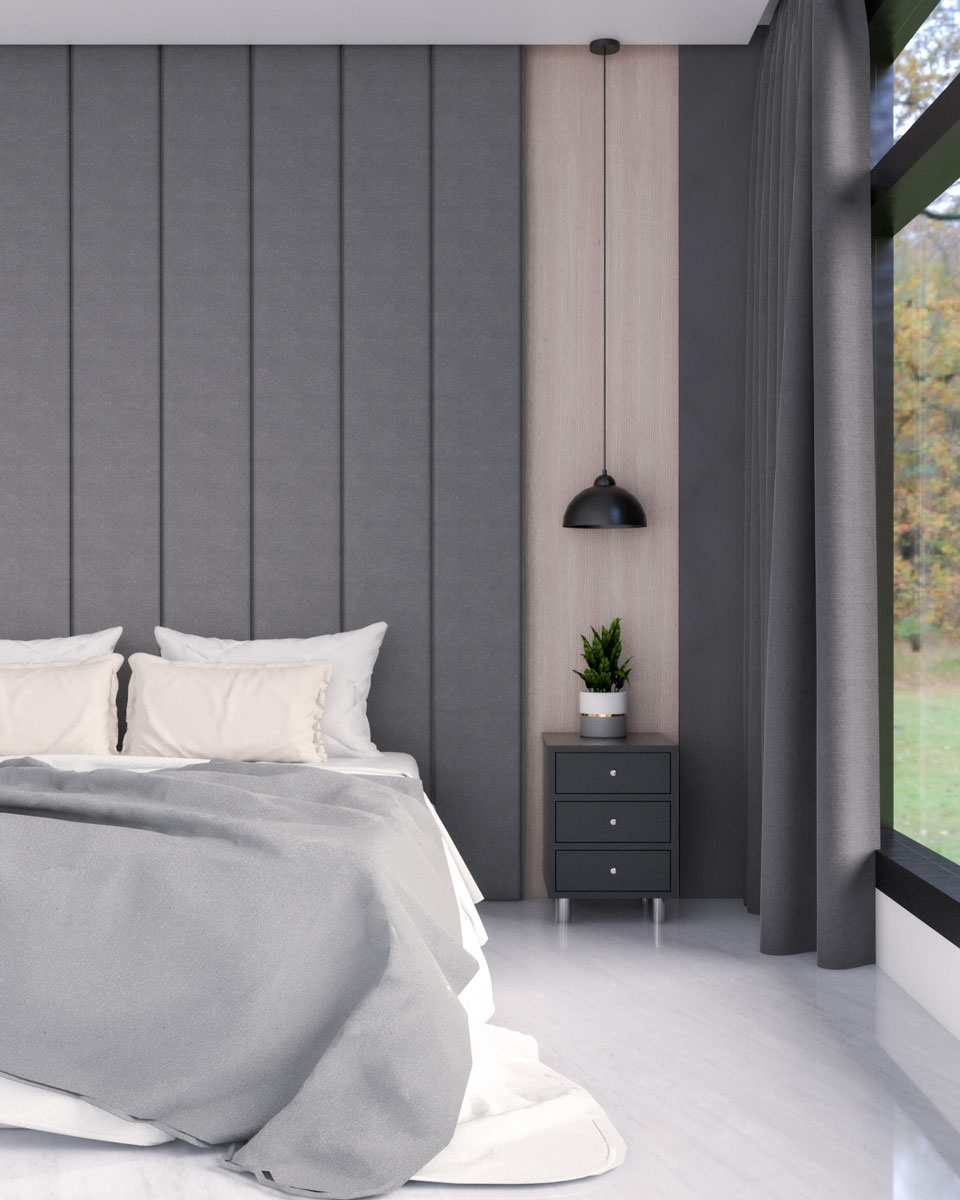 Dark gray and wood accent wall ideas