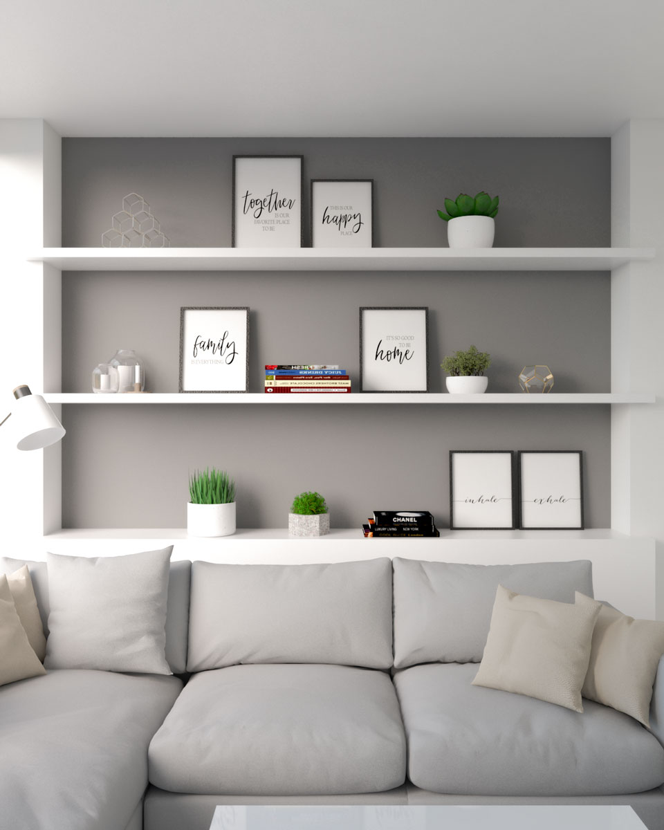 Dark gray accent wall with horizontal shelves