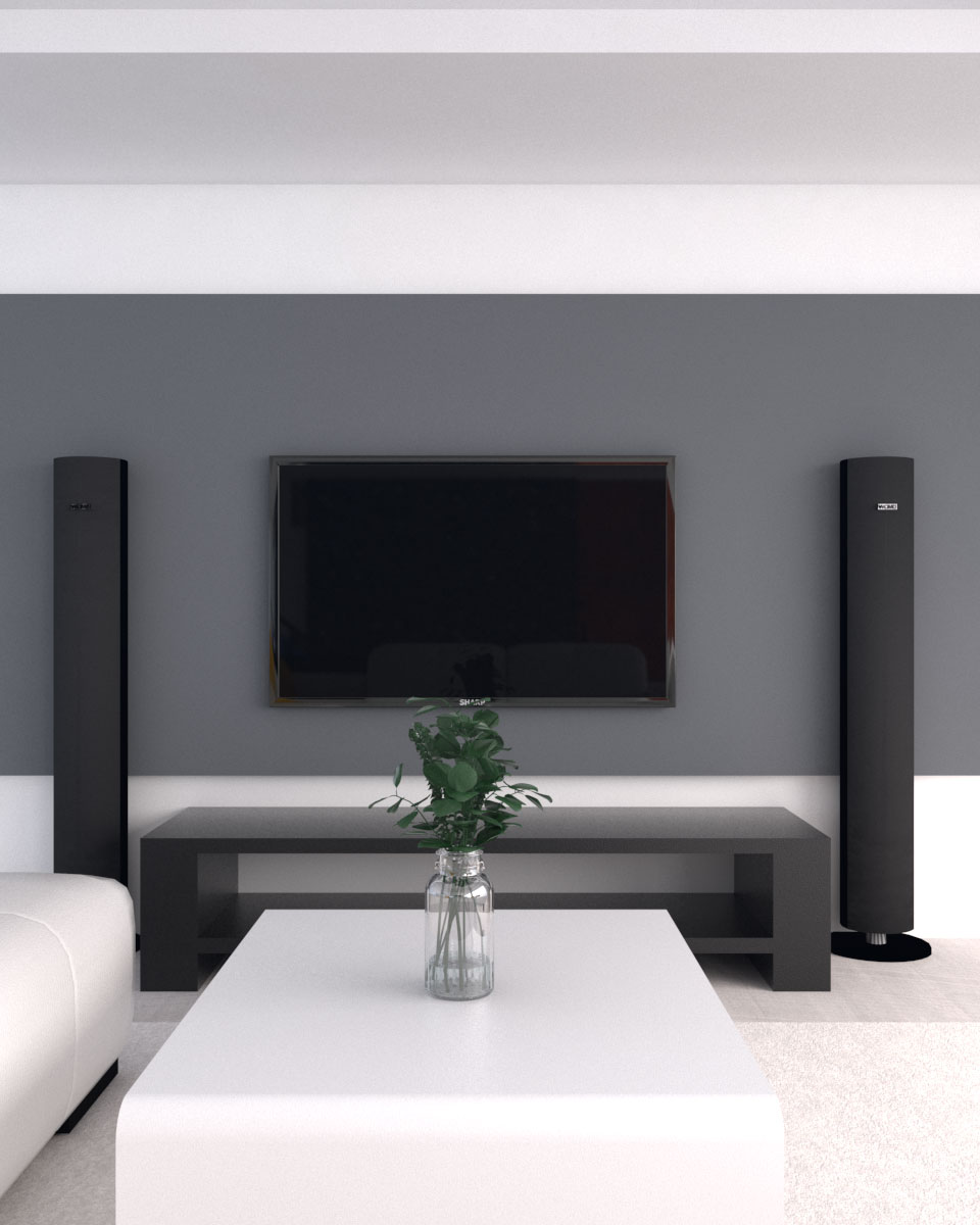 Simple minimalist accent wall behind TV