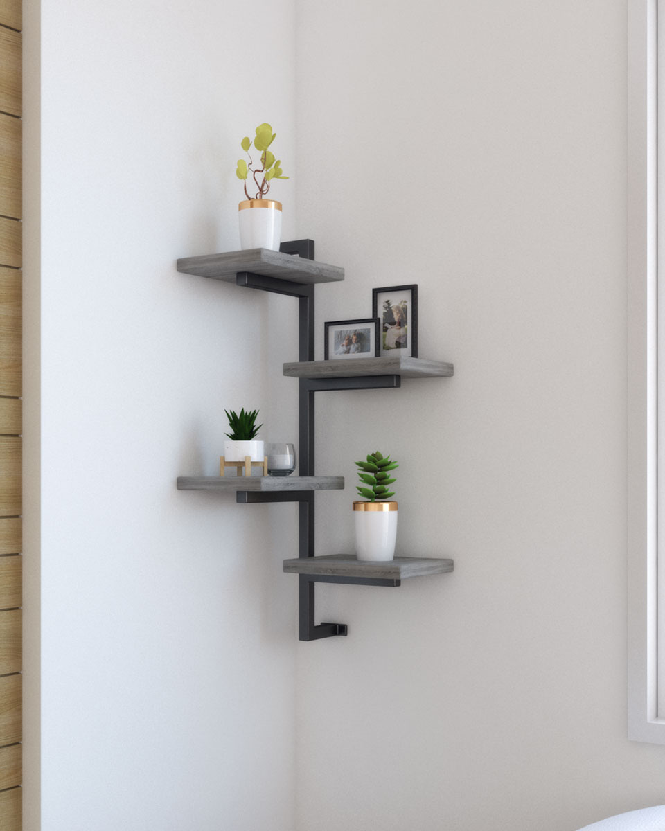 Unique, modern and elegant rustic corner floating wall shelf