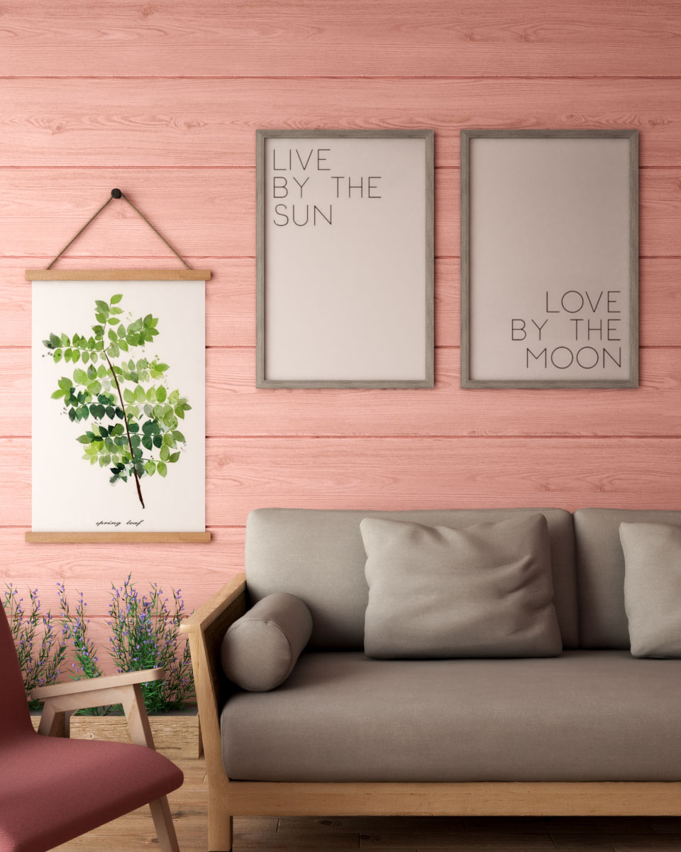 Farmhouse style pink wall decoration ideas