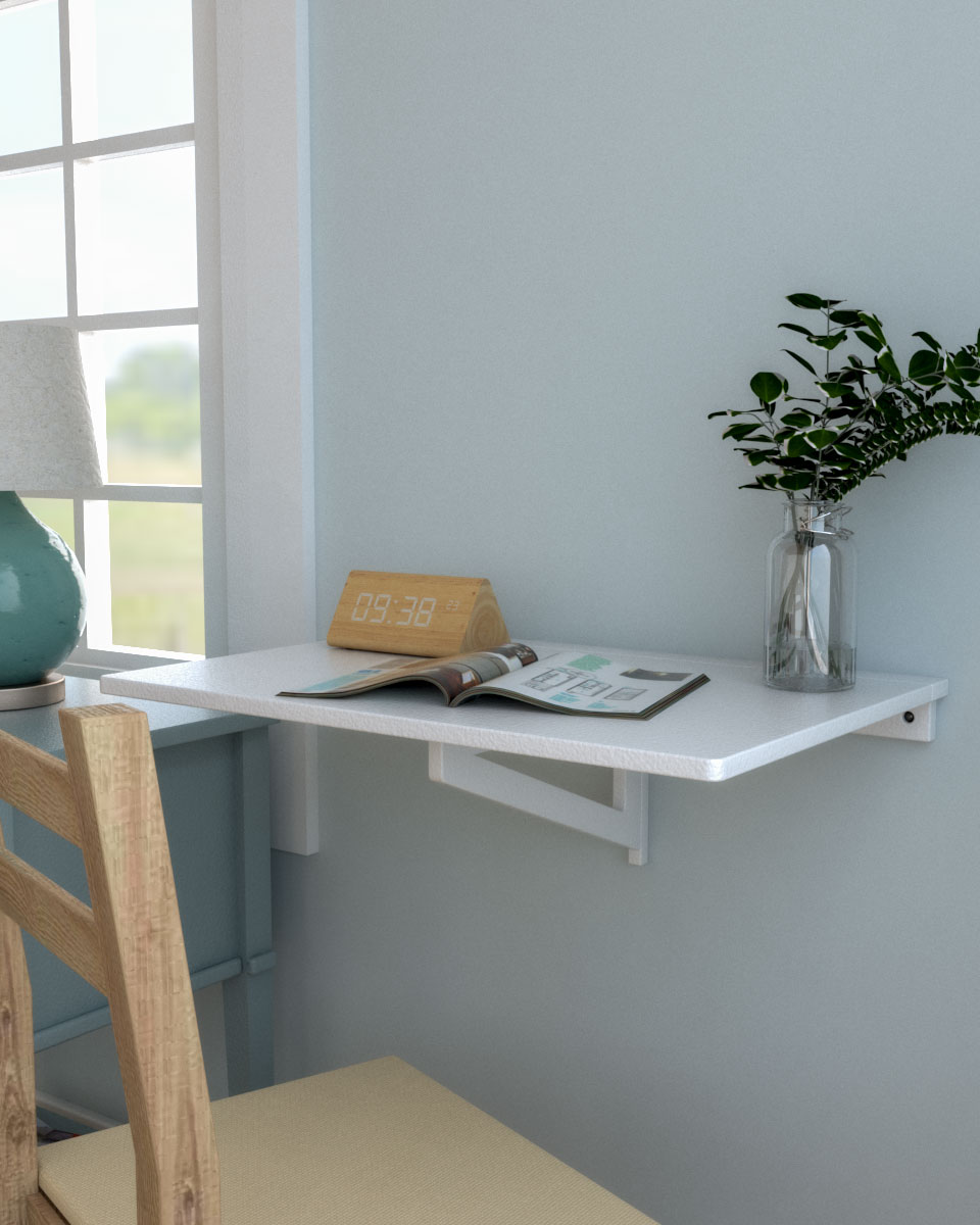 Simple white wall mounted drop leaf style table