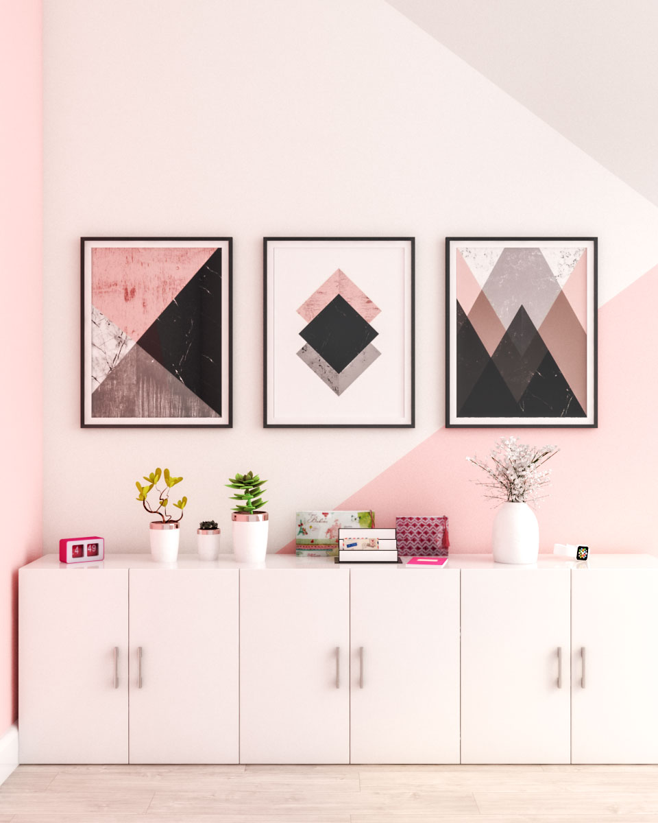 Geometric style pink wall decor ideas