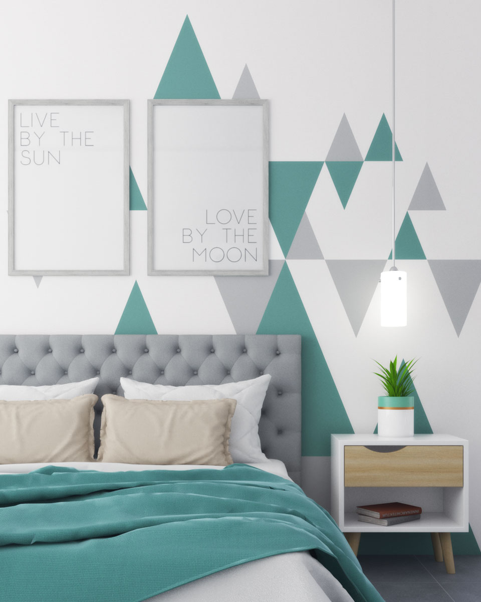 Geometric triangle style teal and gray wall paint ideas