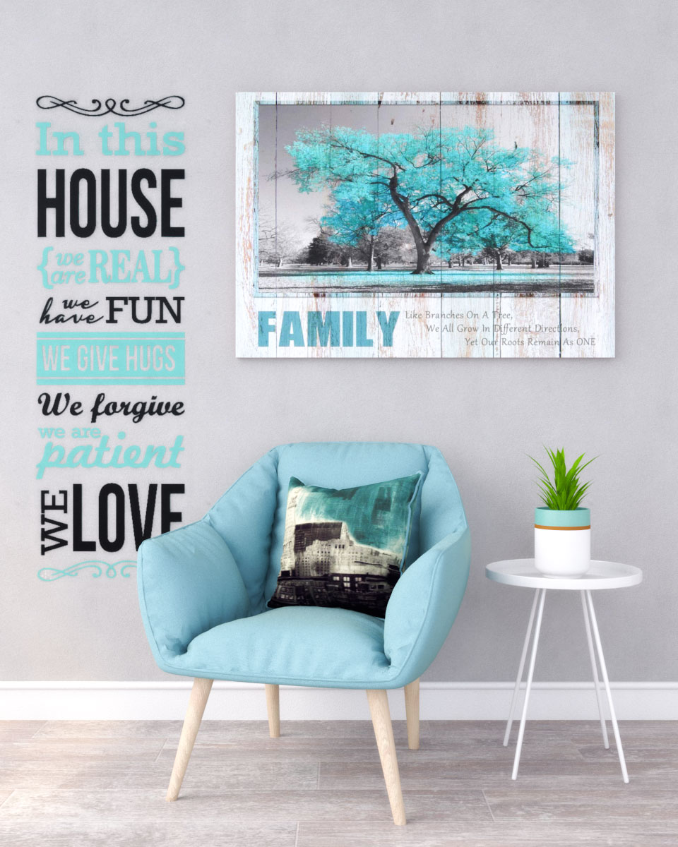 Rustic industrial gray and teal wall decor ideas
