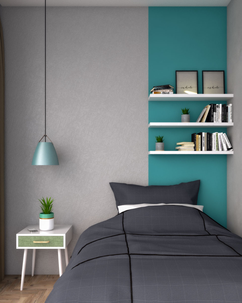 Two tone wall pain tusing gray and teal