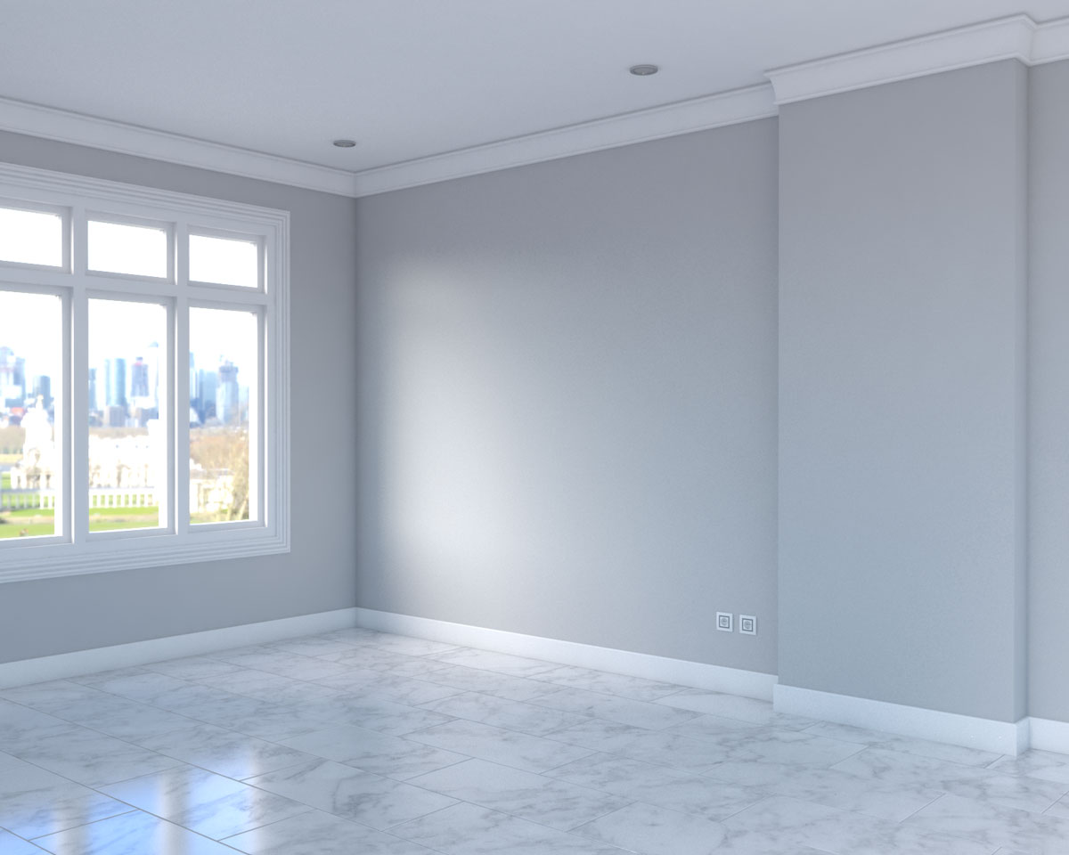 white marble tile flooring with dark grey wall