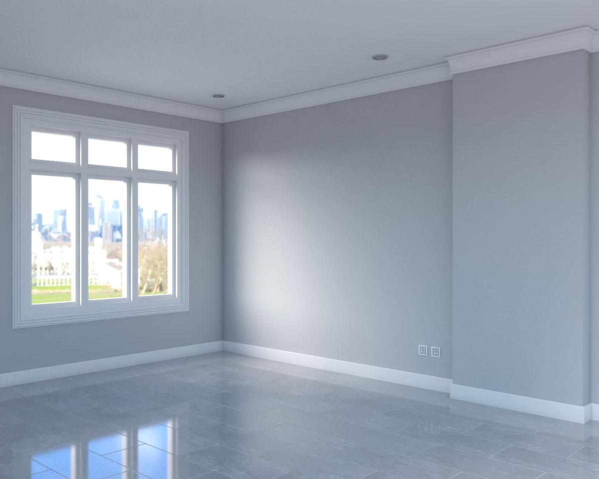 light grey flooring with dark grey walls