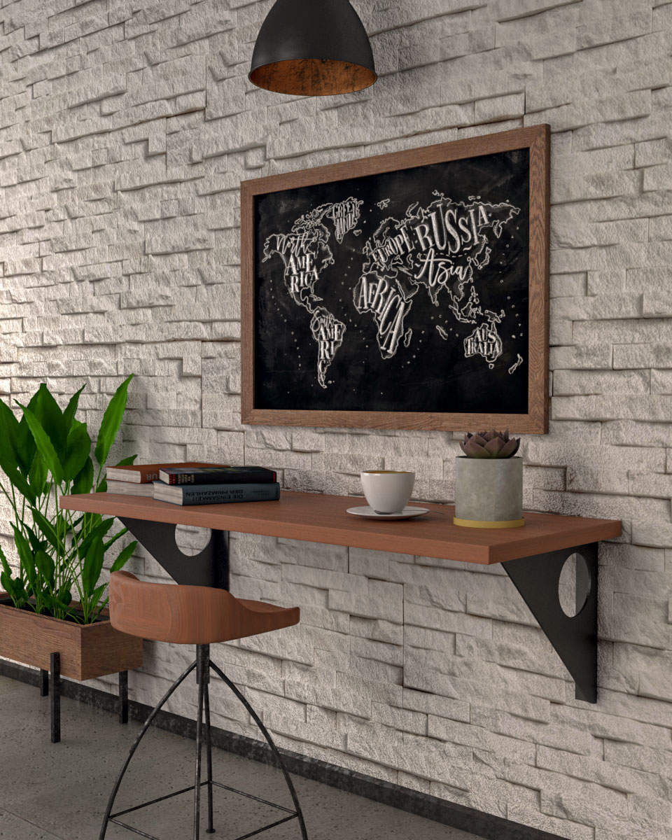 Industrial rustic style floating wall table
