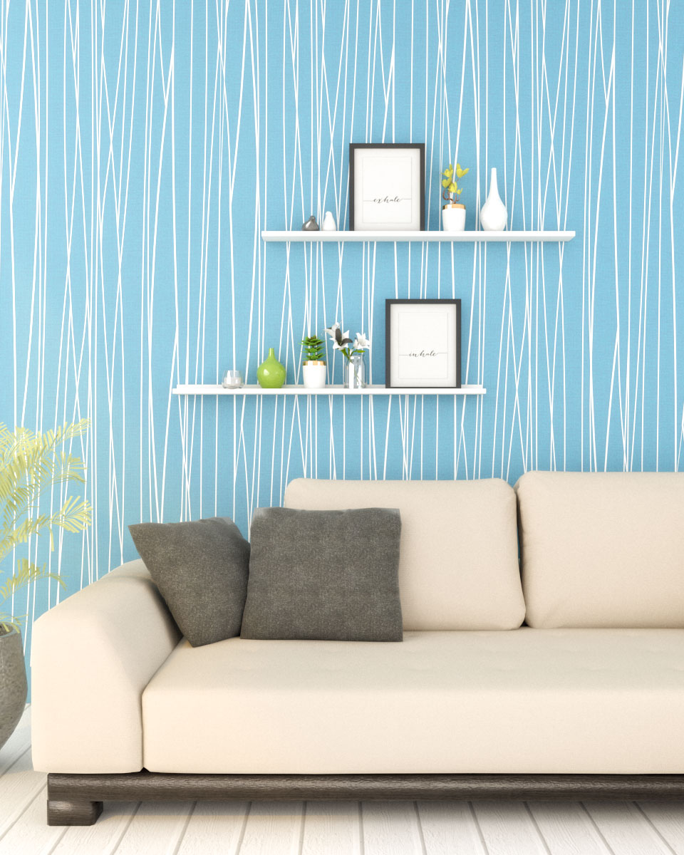 Non woven classic pastel blue moonlight forest stripe wallpaper