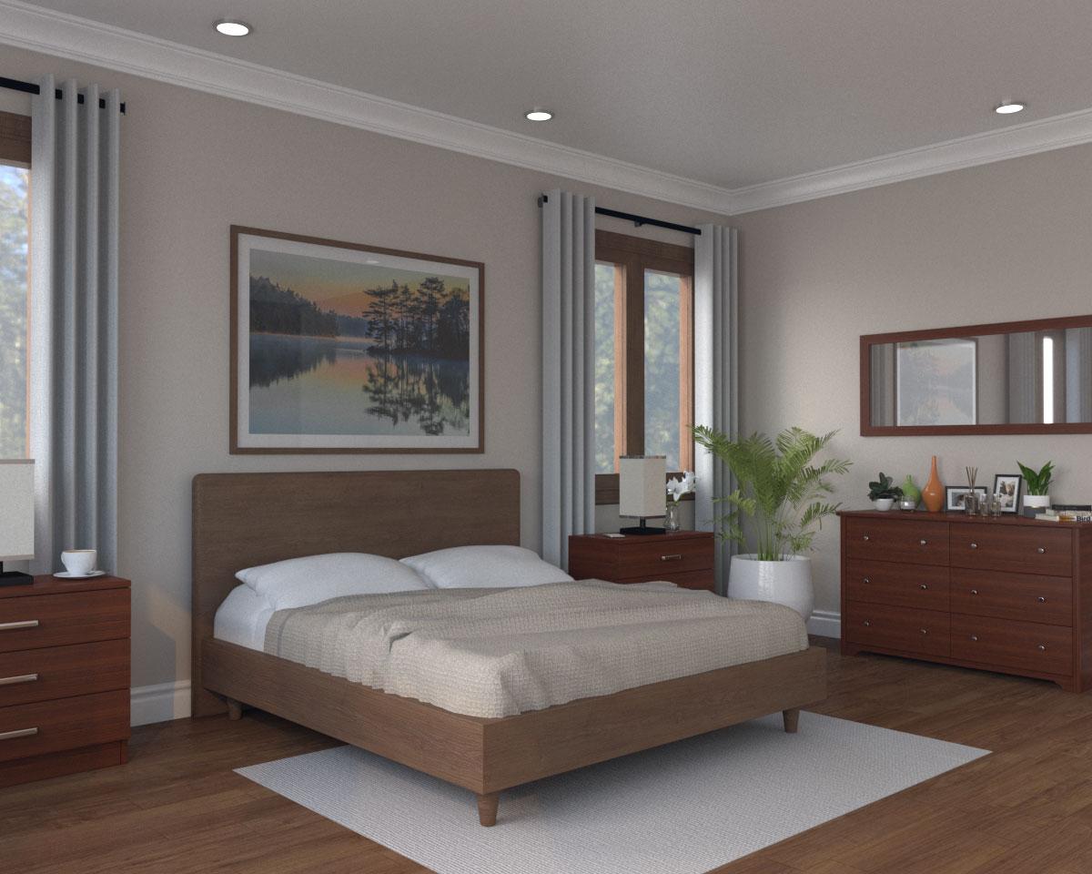 Light brown bedroom with dark furniture