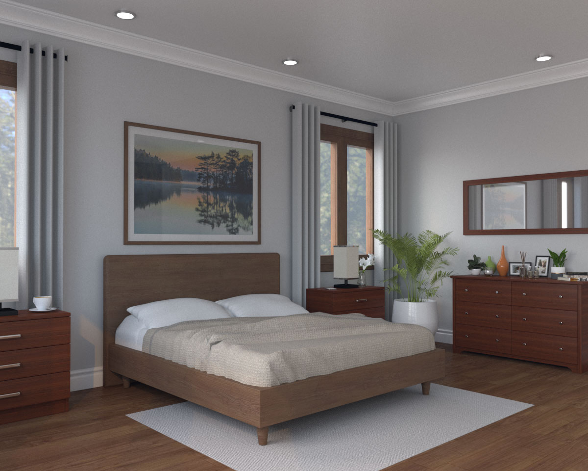 Light gray wall with dark brown furniture