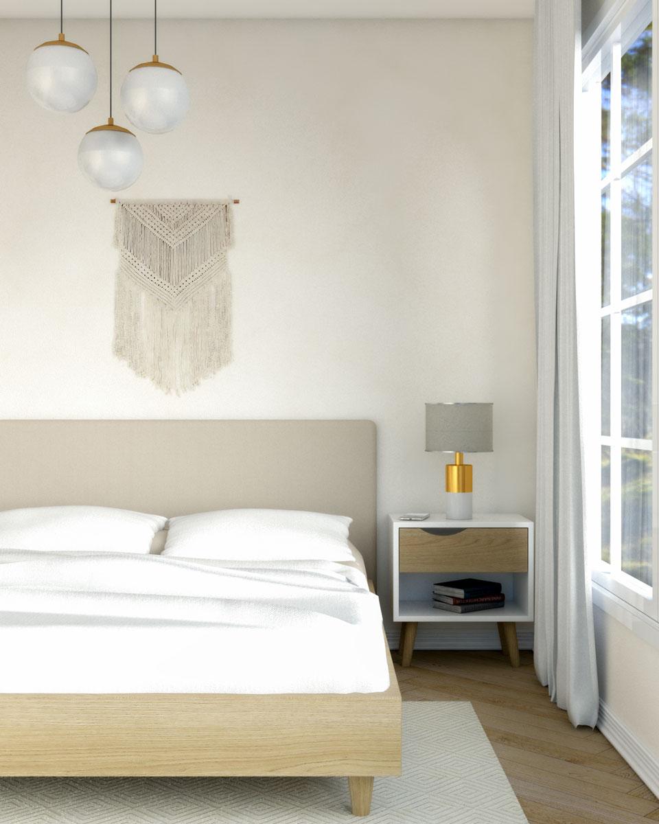Beige modern mid century bedroom wall paint ideas