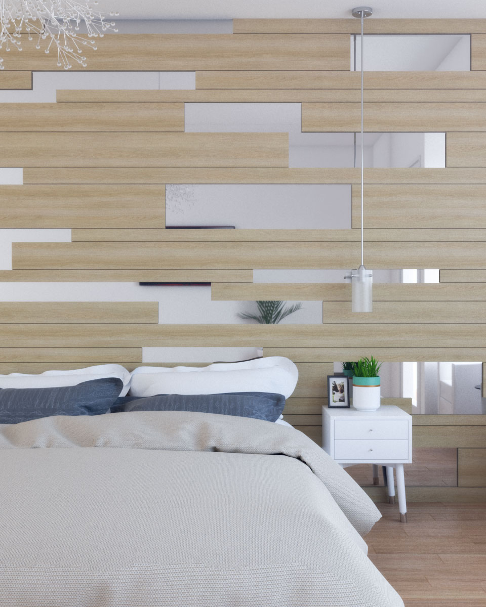 contemporary modern wood wall with mirror