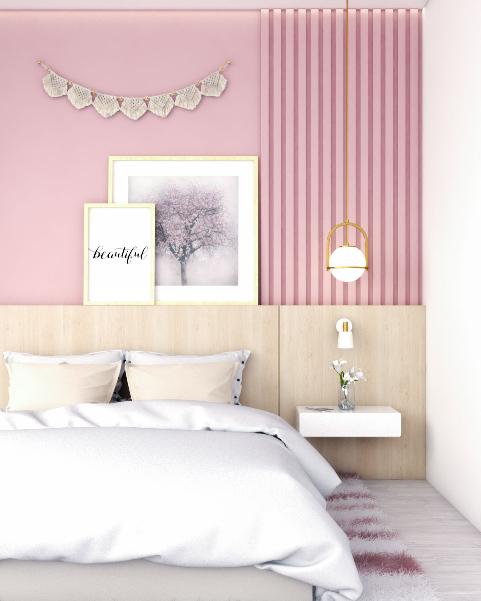 Glamorous pink bedroom wall ideas