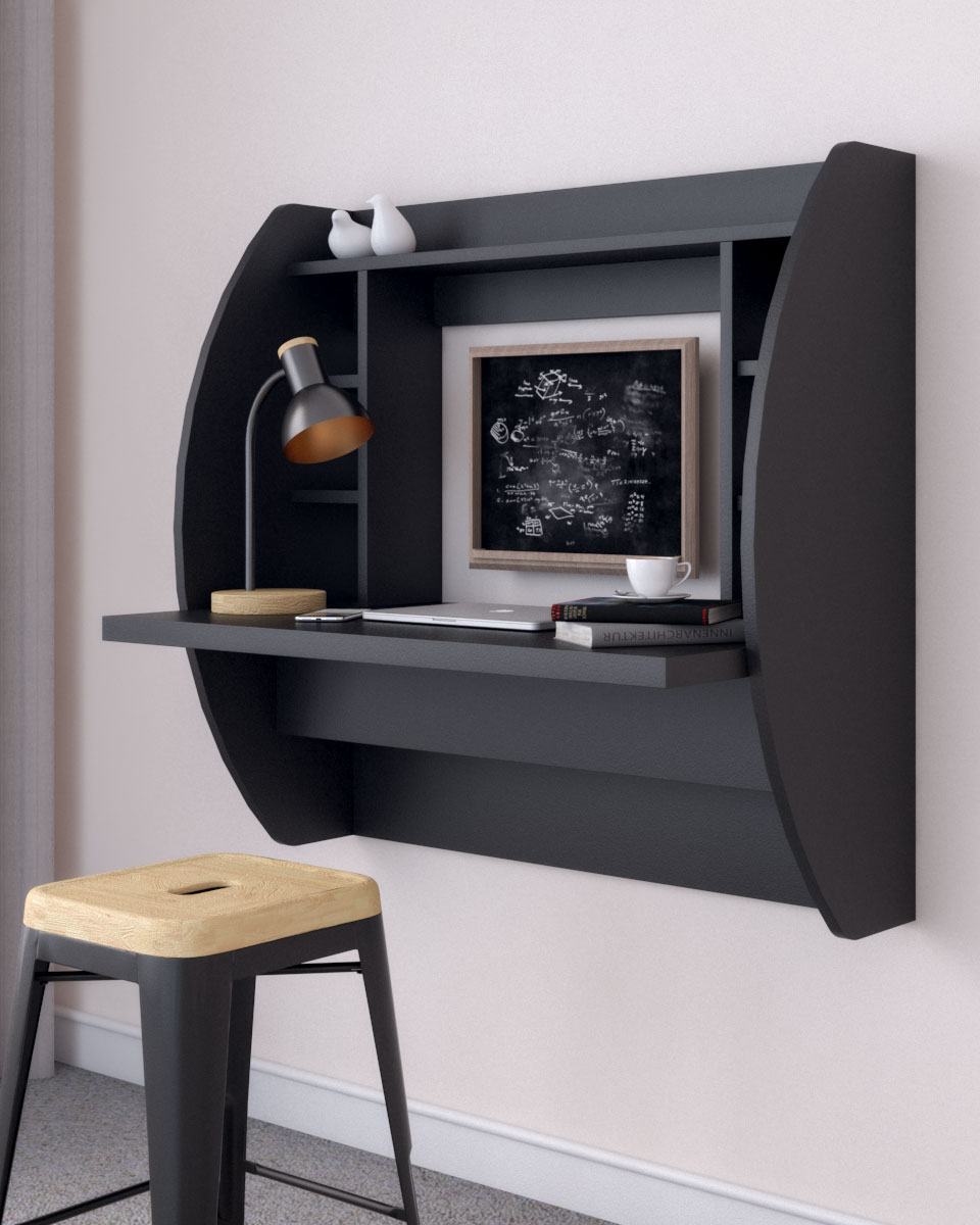 Black wall mounted floating desk