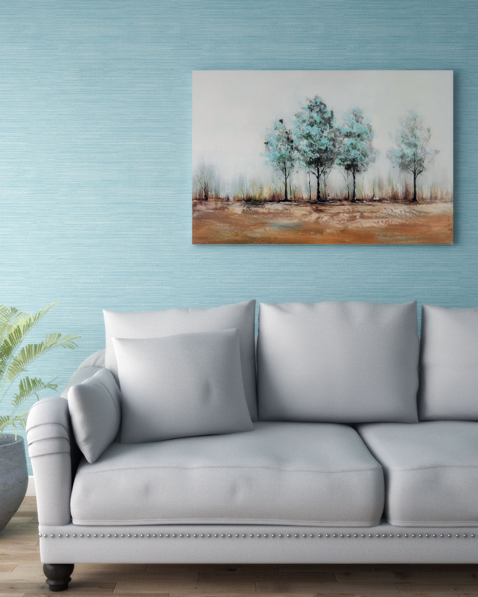 Pastel blue grasscloth texture wallpaper
