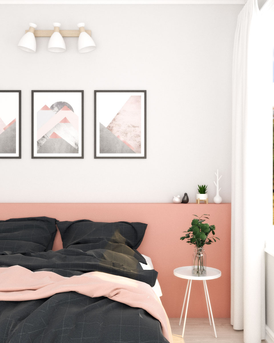 Scandinavian style pink wall decor ideas