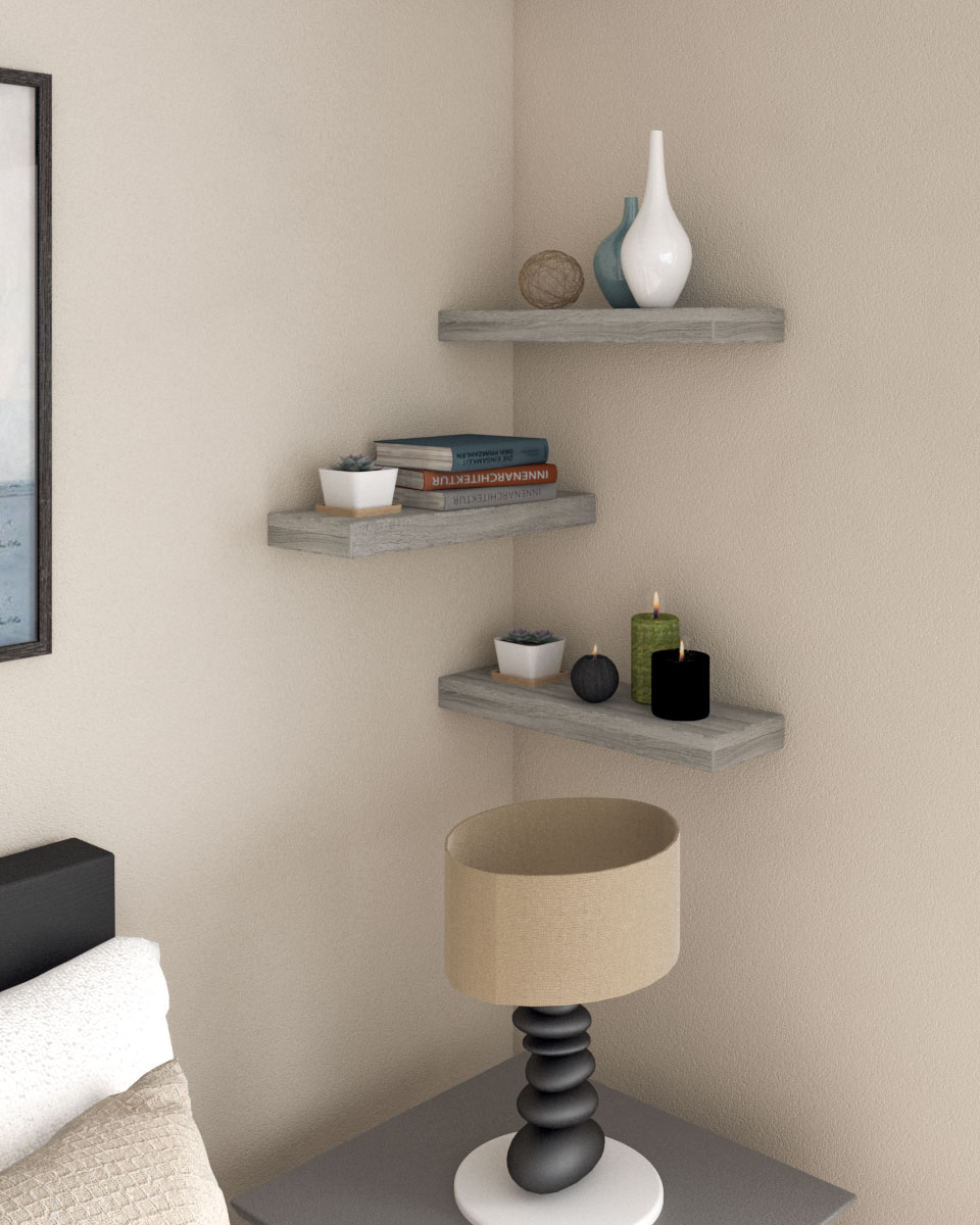 Simple rectangle wall shelves in rustic style wood
