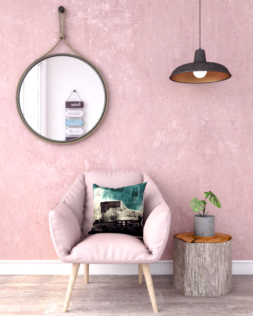 Rustic industrial style pink wall ideas