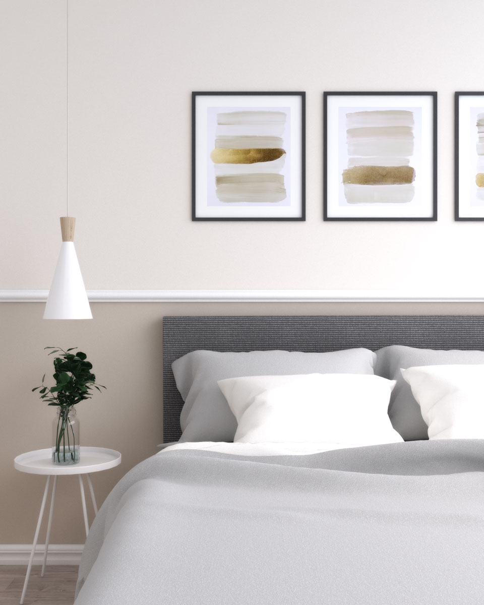 Two tone bedroom wall paint with different shade of beige