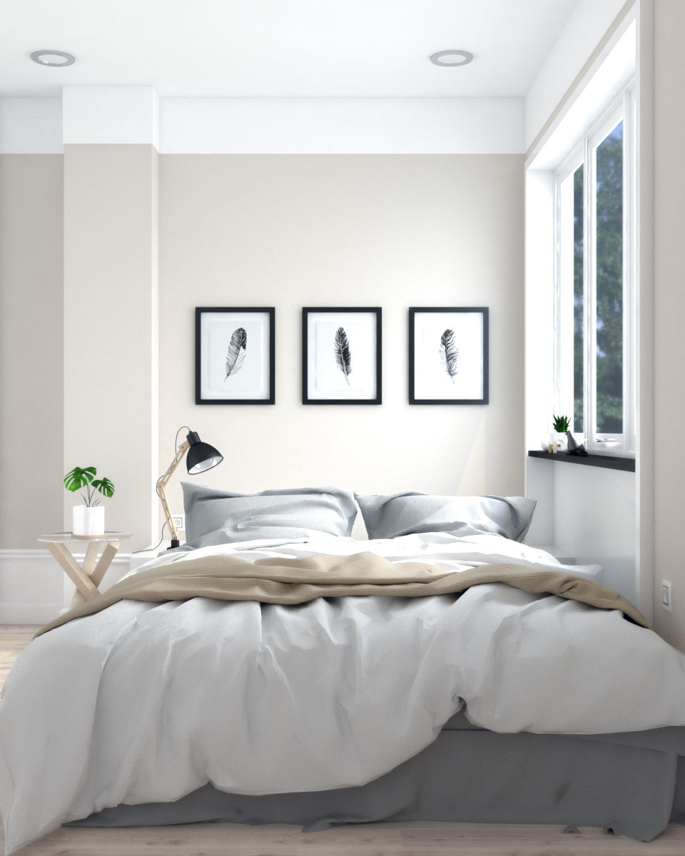 Scandinavian style beige and white bedroom wall paint ideas