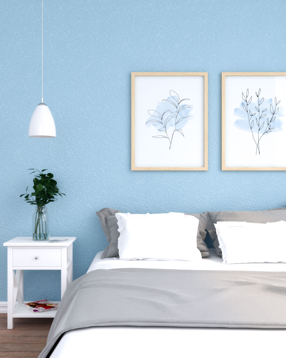 Solid pastel blue silk embossed wallpaper
