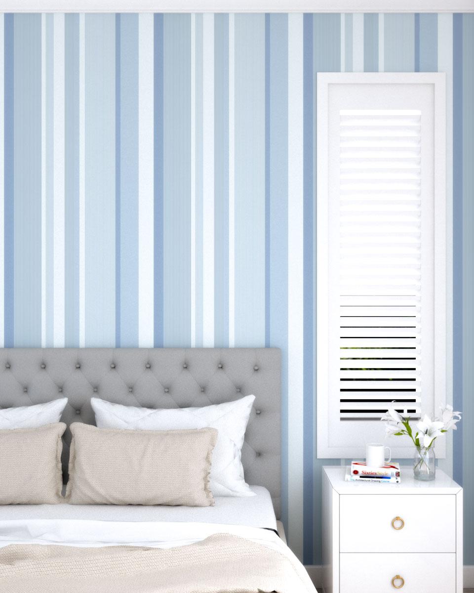 Pastel blue vertical stripe wallpaper