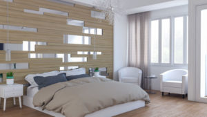 Modern Contemporary Master Bedroom with Wood and Mirror Accent Wall