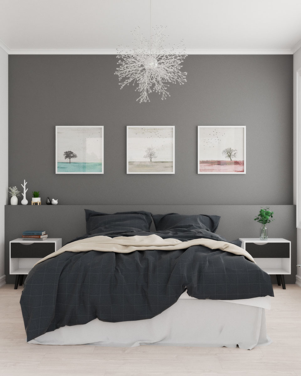Dark accent wall in scandinavian bedroom