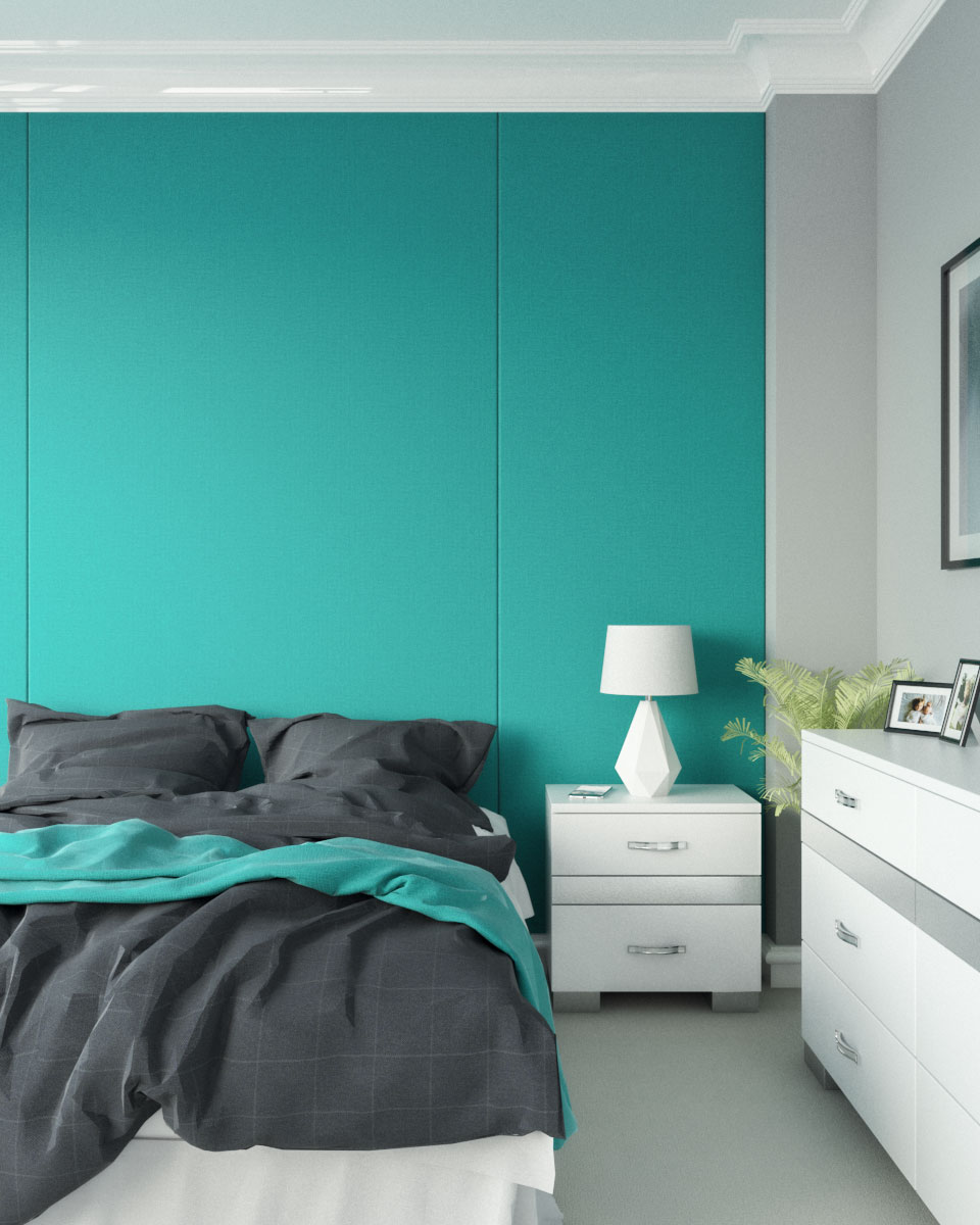 Simple modern bedroom with teal and gray wall ideas