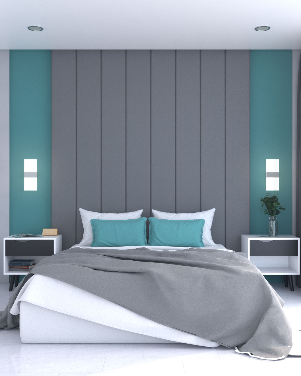 Dark gray and teal accent wall for bedroom