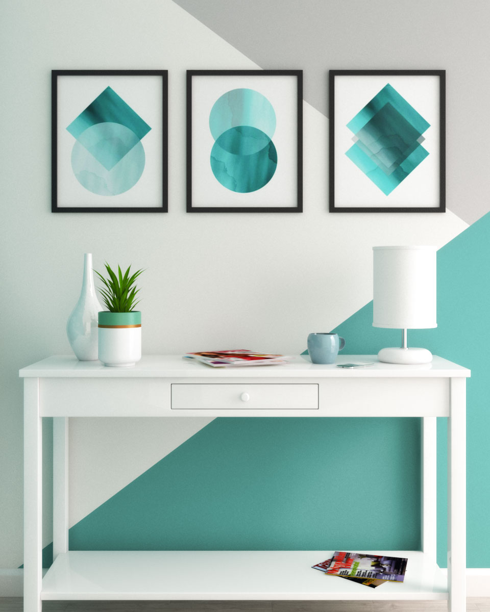 Geometric style teal, white and gray wall ideas