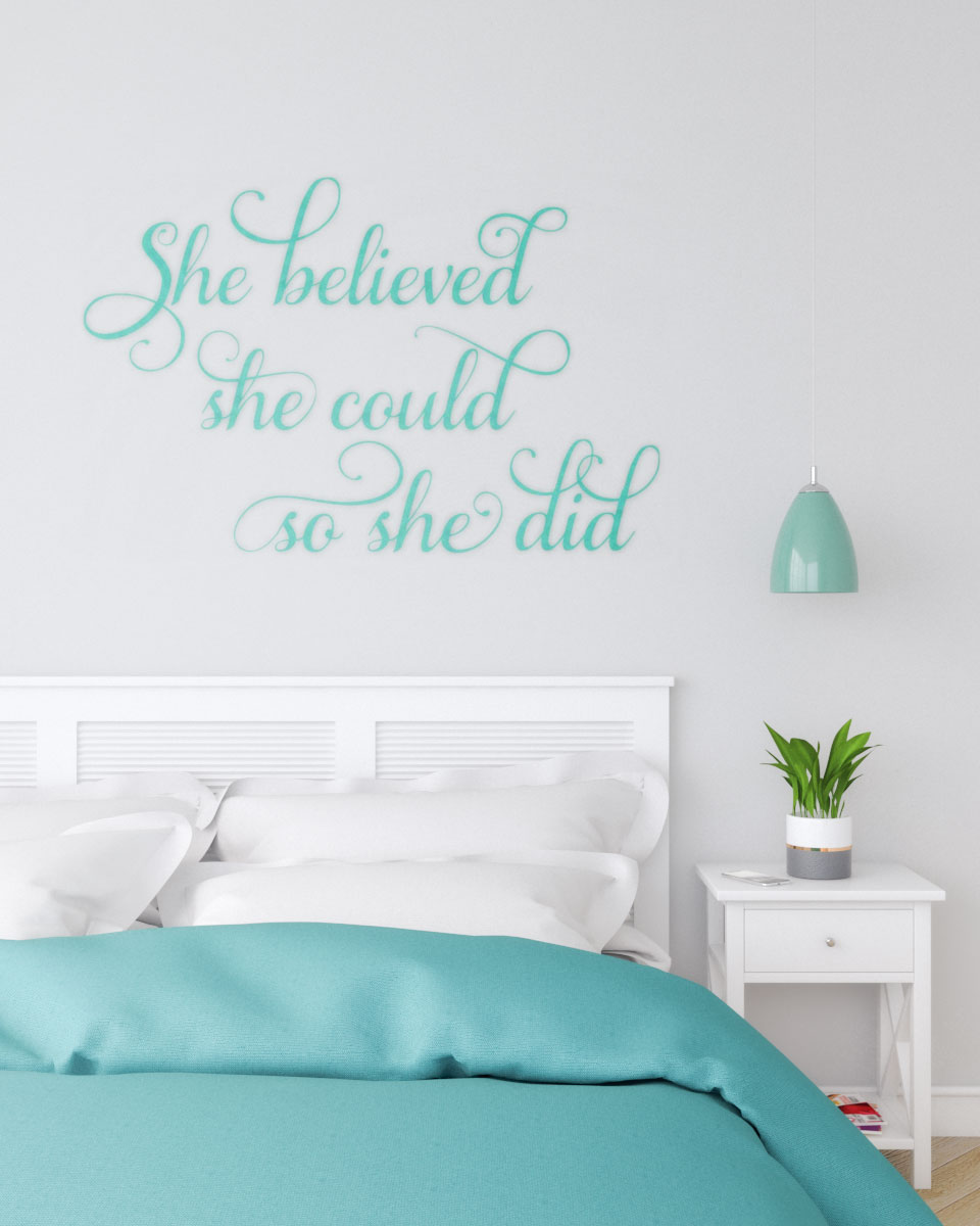 Gray wall with teal stickers decor ideas
