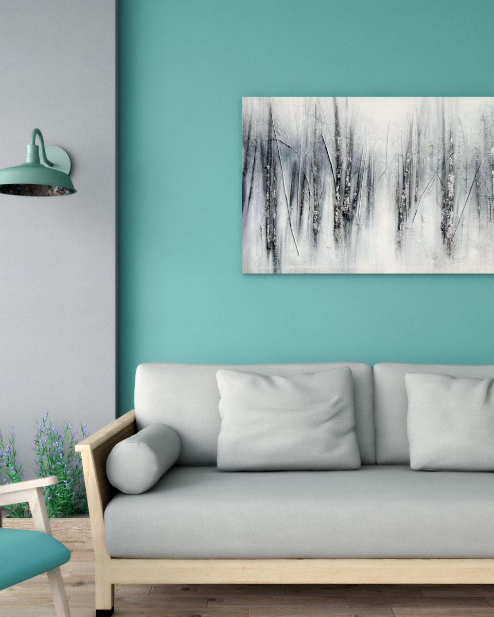 Teal wall with gray column