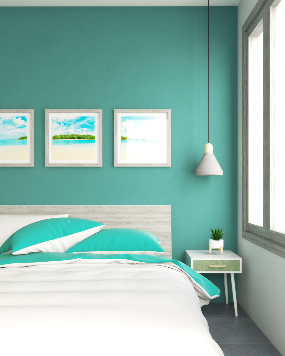 Teal wall with gray decor ideas