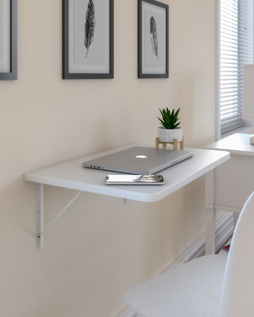 Contemporary style white mounted folding floating wall desk