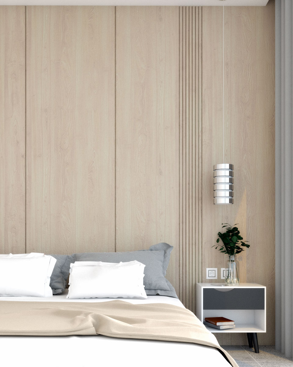 wood accent wall with vertical lines
