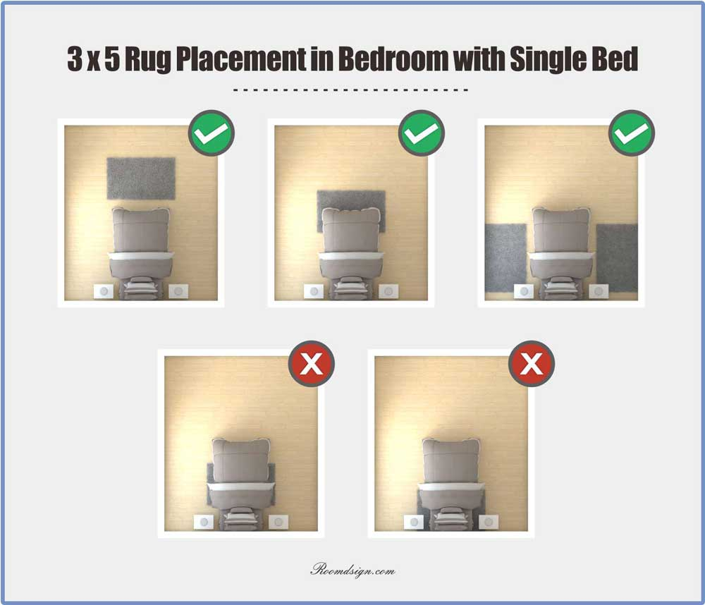 3 x 5 Rug Placement with Single Bed